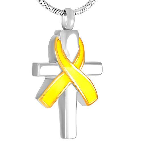 OPPJB Cremación Recuerdo Collar Cinta Y Cruz Colgantes para Urnas De Ceniza Moda Acero Inoxidable Cremación-E