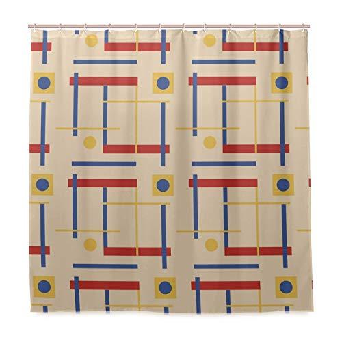 Nod To Bauhaus Duschvorhang, Polyester, waschbar, strapazierfähig, mit 12 Haken, 182,9 x 182,9 cm