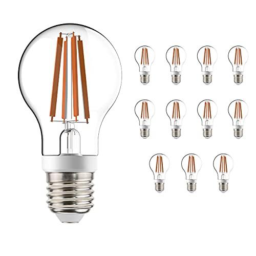 Bombilla filamento LED sensor crepuscular + movimiento HF, 7W 806 lm E27, pack 12, detección 360°, aspecto tradicional, cuerpo de cristal