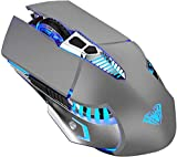 Bluetooth Gaming Mouse, Rechargeable Wireless Mouse Multi-Device (Tri-Mode:BT 5.0/3.0+2.4Ghz), with Side Button, 7 Color LED Lights, Ergonomic Mice for PC Computer Laptop Mac Tablet(Gray - Sound)