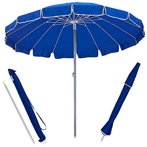 BAKAJI Ombrellone da Mare Spiaggia Giardino Diametro 220 cm con Palo in Alluminio 32mm Struttura a 16 Stecche in Fibra di Vetro e Rivestimento in Tessuto Poliestere 200g Anti UV Colore Blu
