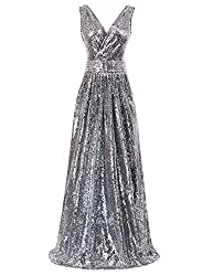 Sleeveless Maxi Sequin Silver Black Gown