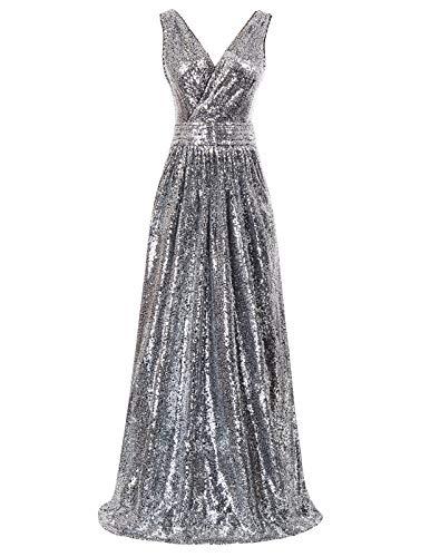 Kate Kasin Women Sequin Bridesmaid Prom Dress Pleated Maxi Dress Sliver and Black US10 KK199