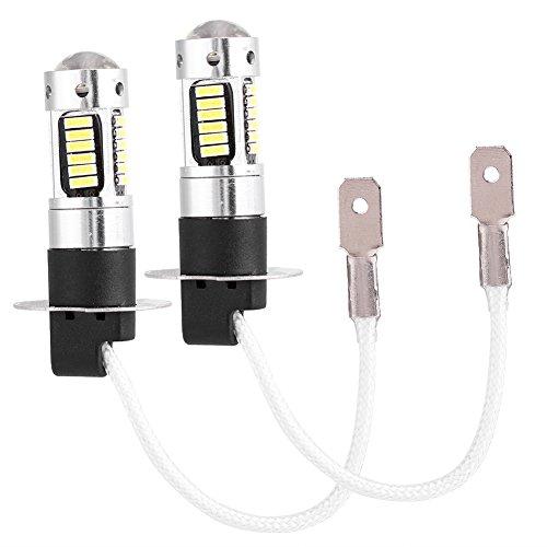 Qiilu DC 12V LED Feux De Brouillard Lampe Ampoule H3 Blanche Lumière H3 4014 DRL Lampe