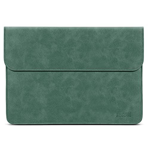 TECOOL 12.3-13 Zoll Laptophülle MacbookAir Hülle Tasche Faux Leder für 2018-2020 MacBook Air 13 M1A2337/A1932/A2179, 2016-2020 MacBook Pro 13 M1A2338, Dell XPS 13, Surface Pro X 7, MateBook 13 - Grün