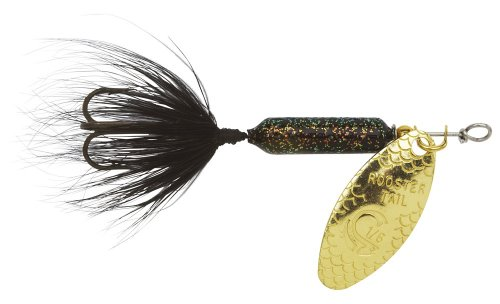 Yakima Bait Wordens Original Rooster Tail Spinner Lure, Glitter Black, 1/8-Ounce