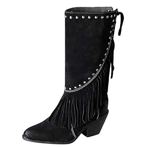 Supertong Damen Stiefeletten Casual Einfarbig Vintage Roma Boots Schuhe Quaste Nieten Stiefel mit Blockabsatz Hohe Stiefel Künstlich Wildleder Schnürstiefel Casual Biker Motorradstiefel