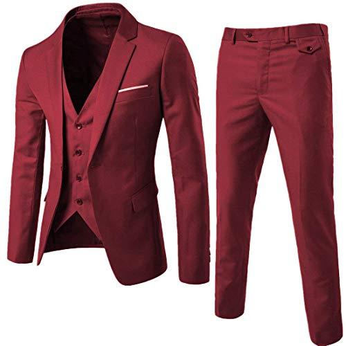 Mens Notch Lapel Modern Fit Suit Blazer Jacket Tux Vest and Trousers Set Three-Piece,Red,Medium