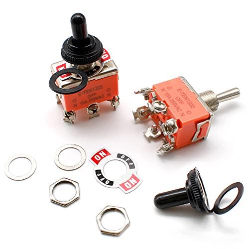 SRJQXH 2 Piezas 6 Pines 3 Posiciones Interruptor Basculante 15A 250V AC SPDT ON/OFF, Con tapa Impermeable, Arandelas, Tornillos y Tuercas, Señalización, Placa de Identificación del Interruptor