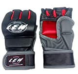 LEW Thumb Protection Grappling MMA Training Gloves (Red/Grey, S/M)