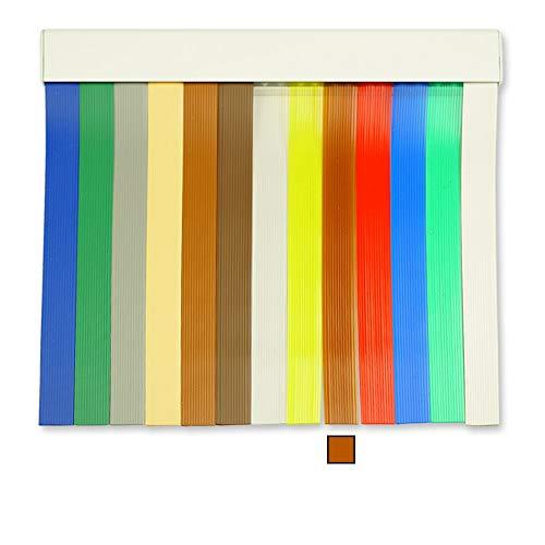 Cortinas Exterior Puerta de Tiras | Material Plastico PVC y Barra Aluminio | Ideal para Terraza y Porche | Antimoscas | Marrón Claro | 210 * 120