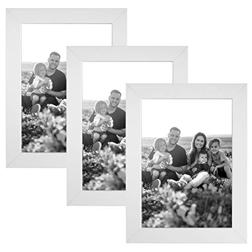 CABBEL 3er Set Bilderrahmen 13x18 MDF Holz-Rahmen mit bruchsicherem Acrylglas in Weiß