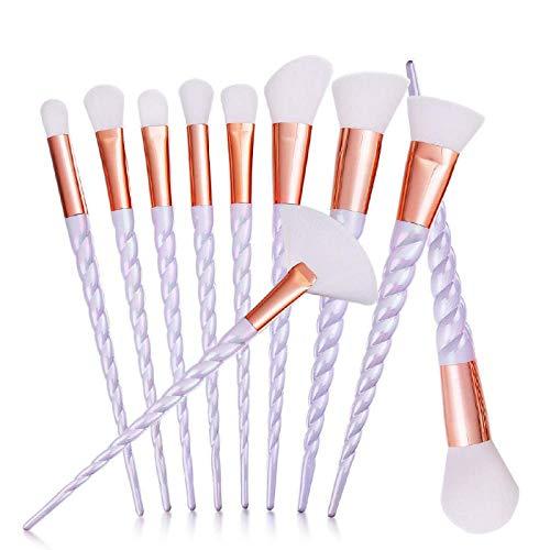 Terilizi Professionnel 10 Pcs Spirale Blanc Poignée Maquillage Brosses Blanc Poudre Fondation Blush Visage Ombrage Cosmétique Brosse À Sourcils Maquillage