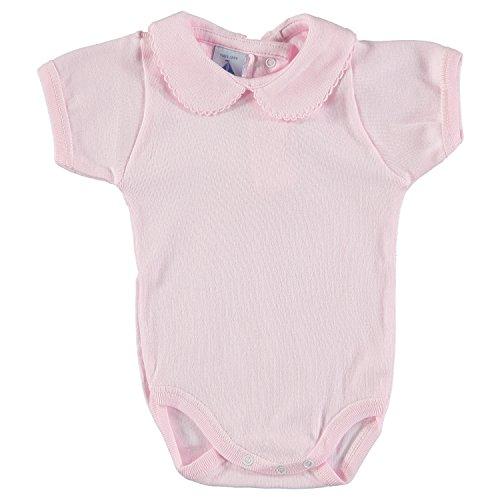 BABIDU 1192 Body Cuello Bebe Manga Corta Ropa de Bautizo, Rosa (Rosa 3), 62 (Tamaño del Fabricante:3) Unisex bebé