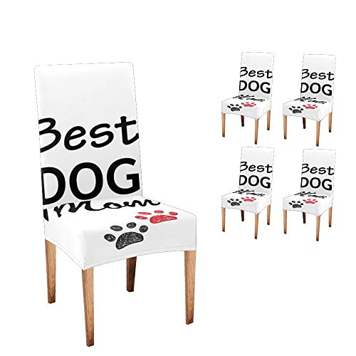 XIUCOO Stretch Chair Covers Protector Best Dog Mom Comfort Soft Seat Covers Slipcovers for Dining Room Party (Set of 4)