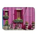 Alfombrilla de Puerta Impresión 3D Alfombra de baño Coloridas Casas en la Isla de Burano Cerca de la Bicicleta de Venecia alfombras de decoración para el baño con Respaldo Antideslizante