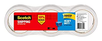 Scotch Heavy Duty Packaging Tape 1.88  x 54.6 yd Designed for Packing Shipping and Mailing Strong Seal on All Box Types 3  Core Clear 3 Rolls  3850-3