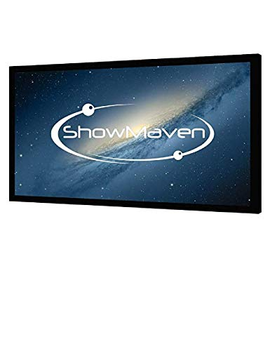 ShowMaven 100in /120in Fixed Frame Projector Screen, Diagonal 16:9, Active 3D 4K Ultra HD Projector Screen for Home Theater or Office (120inch)