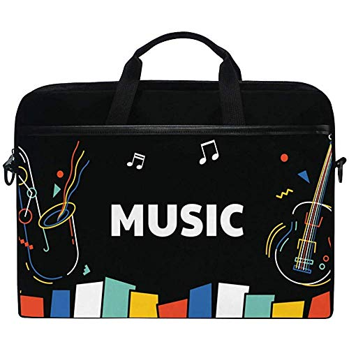 Rainbow Color Music Note Klavier Gitarre Laptoptasche Tasche Hülle Tragbar/Crossbody Messenger Aktentasche Cabrio Mit Gurttasche Für MacBook Air/Pro Oberfläche Dell Asus Hp Lenovo,14-14,5 Zoll