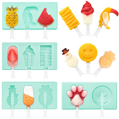 Newthinking 4 Pack Ice Lolly Moulds, 4 Different Shape Silicone Popsicle Molds, Reusable Ice Cream Mold with Sticks and Cover for Children, Adults