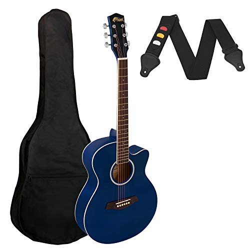 Tiger Small Body Full Size Acoustic Guitar for Beginners - Blue