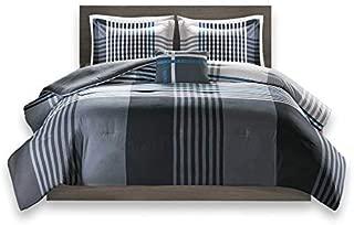 Comfort Spaces Benjamin 4 Piece Full/Queen Comforter Lightweight Ultra Soft Contemporary Microfiber Reverse Patchwork All Season Comfy Bedding Set, Black/White