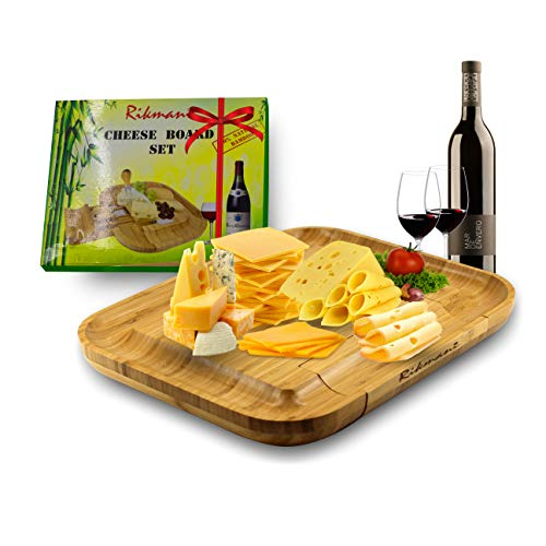 Best Cheese Board Set w/Stainless-Steel Cutlery (5 Pc. Set) Wood Serving Board and Cheese Tray - Cracker Grooves - Eco Cheese Tray with Knife Set Inside