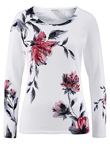 Alba Moda Damen Feinstrick Pullover Langarm in Weiß aus Baumwolle exklusivem Druck