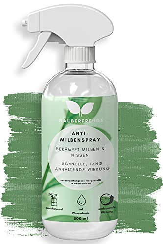Sauberfreude Milbenspray für Polster & Matratzen - 500 ml - geruchsneutrales Anti-Milben-Mittel - langanhaltende Milbenabwehr - Spray gegen Hausstaubmilben