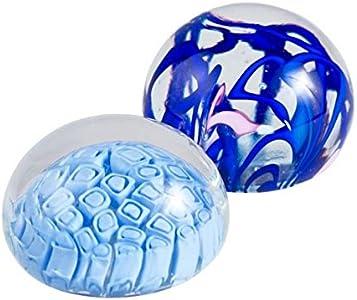 YourMurano, Par de pisapapapeles de cristal de Murano, hecho a mano azul cristal pareja pisapapeles idea de decoración de oficina, Marca de origen, Oscar
