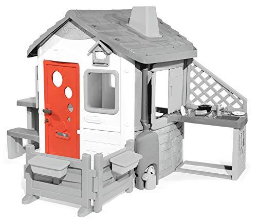Smoby Haustür für Neo Jura Lodge Zubehör für Spielhaus, große Haustür mit Türklinke, Postschlitz, Schlüssel, Gucklöcher, wetterfest, rot