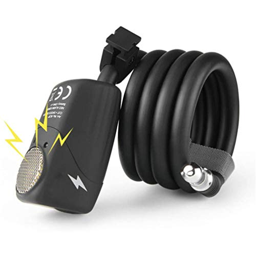 GOLDGOD Alarma Inteligente Candado De Cable, Alarma 110Bb Candado De Bicicleta Alta Seguridad Impermeable Cerradura De Bicicleta para Bicicletas Bicicletas Eléctricas Patinetas Cochecitos, 120cm