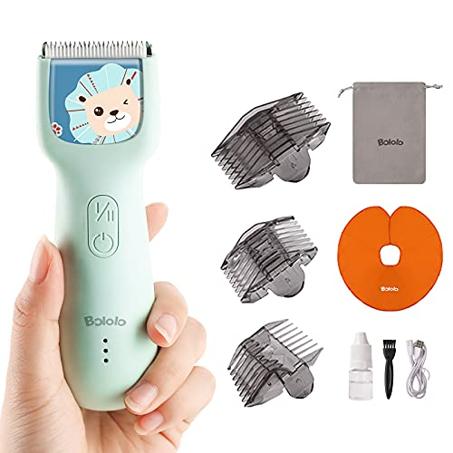 Bololo Baby Hair Clippers - Quiet Kids Hair Trimmer, Cordless & Waterproof Chargeable, Children with Autism, ABS Ceramic Blade, Haircut Kit for Kids Infants Men and Women,Blue,Lion
