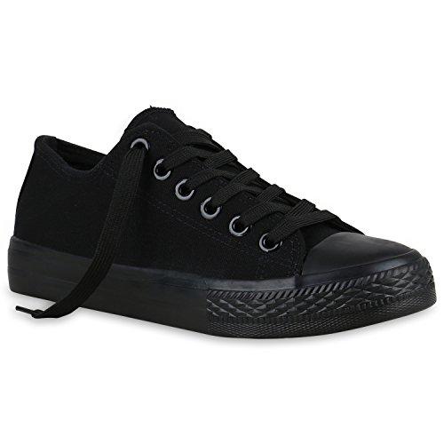 stiefelparadies Damen Sneakers Sport Sneaker Low Denim Stoff Blumen Camouflage Schuhe 123350 Schwarz Black 42 Flandell