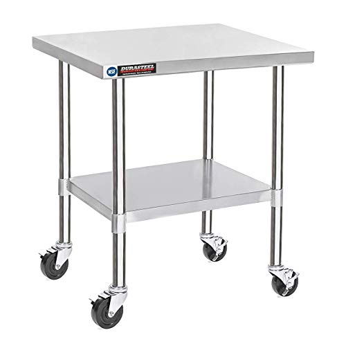"DuraSteel Stainless Steel Work Table 30"" x 36"" x 34"" Height w/ 4 Caster Wheels - Food Prep Commercial Grade Worktable - NSF Certified - Good For Restaurant, Business, Warehouse, Home, Kitchen, Garage"