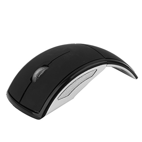 2.4ghz Wireless Foldable Folding Arc Optical Mouse for Microsoft Laptop Notebook - Black