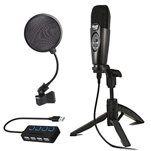 CAD U37 USB Studio Condenser Recording Microphone with Pop Filter + 4-Port USB 2.0 Hub