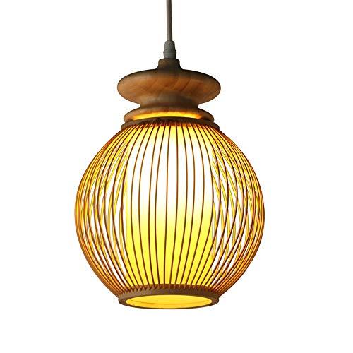 MAMINGBO Lámpara de bambú Araña de la vendimia Sola Cabeza Colgante Lámpara de Luz de Techo Industrial Retro Estilo Rural Comedor Restaurante Bar Cafe Iluminación E27 (Color : Primary color)