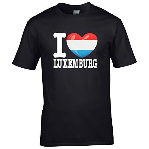 FanShirts4u Herren T-Shirt - I Love Luxemburg Luxembourg LËTZEBUERG - EM WM Trikot Liebe Herz Heart (5XL, Luxemburg/schwarz)