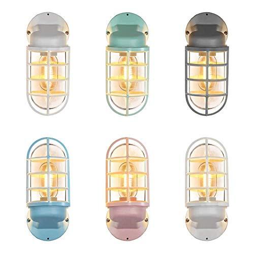 Mkjbd Muur Lantaarn Tuin Lamp Wandgemonteerde Lamp Muur Lampen Mooie Macaron Nordic Creatieve Eenvoudige Glas Restaurant Lampen Bar Lampen Amerikaanse Industriële Wind Iron Water Pipe Verticale Ovale Wandlamp Be Blauw