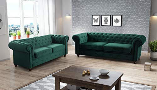Amazing Sofas MANY COLOURS Chesterfield sofa ROMA INFINITY Velvet FABRIC SOFAS LARGE 3 2 SEATER COUCH (3 SEATER, DARK GREEN PLUSH)