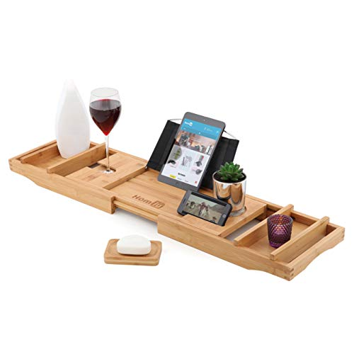 Homiu Bamboo Bath Caddy Premium Fits Most Baths With Book Rest Wine Glass Dish Candle Tablet Kindle Ipad And Smartphone Support Holders