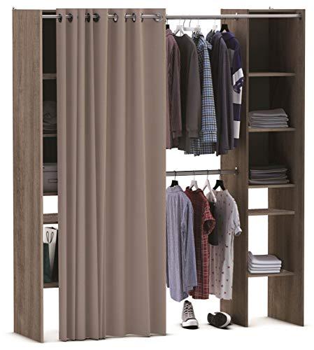 Miroytengo Kit Armario Extensible vestidor Armario ropero con Cortina Barras colgadoras y Columna con estantes Color Roble Prata 113x203x50 cm