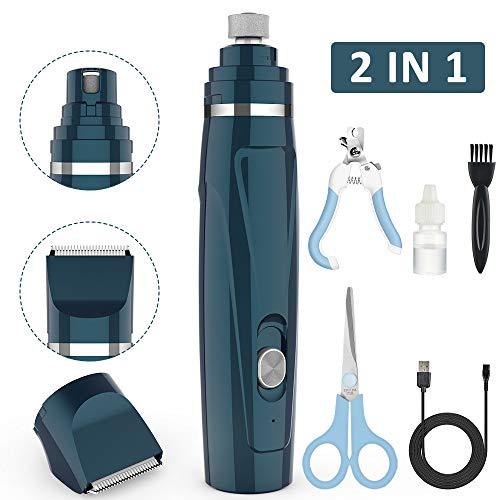 BASEIN 2 in 1 Haustier Nagelschleifer, Krallenschleifer & haarschneider, USB-Aufladung, 2 Geschwindigkeiten 3 Größenanschlüsse, nagelschleifer Schermaschine für kleine, mittlere, große Hunde Katzen