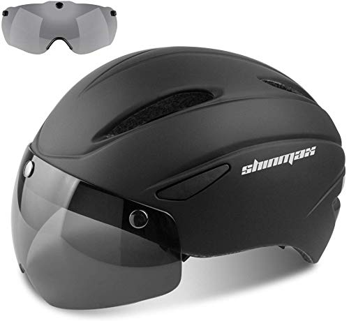 Shinmax Casco Bicicleta Certificato CE, Casco Bici Adulto con Occhiali Magnetici Staccabili Visiera Shield for Hombres Mujeres Casco da Bicicletta Mountain & Road Regolabile Protezione Ski & Snowboard