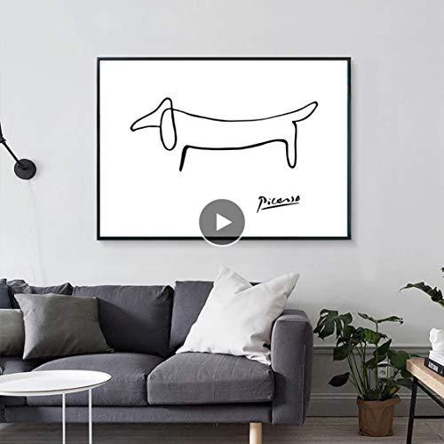 Danjiao Picasso Abstrakte One Stroke Nordic Poster Wandkunst Poster Bild Hund Leinwand Malerei Schlafzimmer Wohnkultur Wohnzimmer Ungerahmt Wohnzimmer 60x90cm