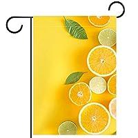 ホームガーデンフラッグ両面春夏庭屋外装飾 28x40inch,夏のトロピカルフルーツの葉オレンジみかんレモン
