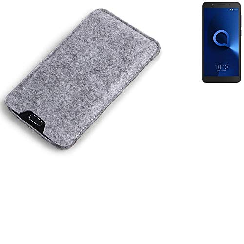K-S-Trade® Filz Schutz Hülle Für Alcatel 1C Dual SIM Schutzhülle Filztasche Filz Tasche Case Sleeve Handyhülle Filzhülle Grau