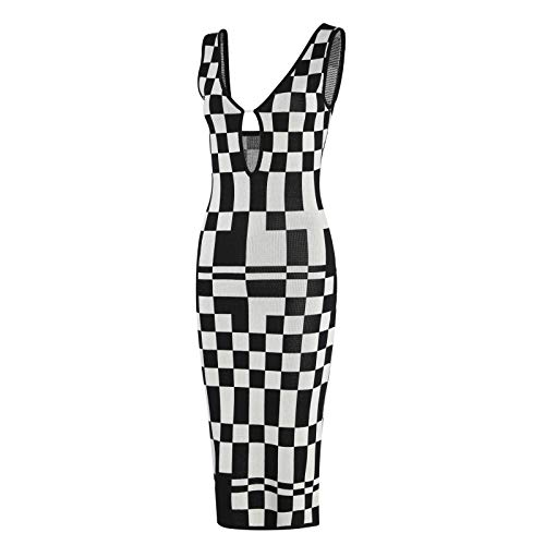ChouZZ Vestido maxi sin mangas con cuello en V para mujer, sin espalda, sin mangas, tirantes de espagueti