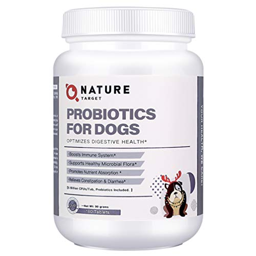 NATURE TARGET Probiotics for Dogs - Advanced Dog Probiotics and Digestive Enzymes with Prebiotics - Relieves Diarrhea, Constipation and Bad Breath, Improves Digestion, Boost Immune System (Dogs)